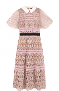 Приталенное платье-миди с кружевной отделкой self-portrait