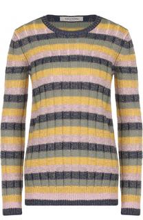 Шерстяной пуловер в контрастную полоску Valentino