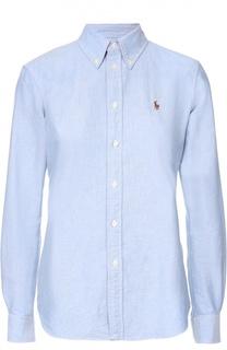 Хлопковая приталенная блуза с вышитым логотипом бренда Polo Ralph Lauren