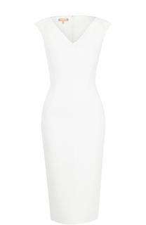 Приталенное платье-миди с V-образным вырезом Michael Kors