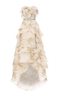 Платье с вышивкой и оборками Oscar de la Renta