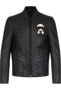 Кожаная куртка на молнии с контрастной аппликацией Fendi