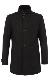 Шерстяное укороченное пальто с подстежкой BOSS