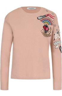 Пуловер из смеси шерсти и кашемира с вышивкой Valentino
