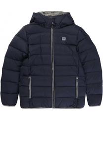 Пуховая куртка с капюшоном и логотипом бренда Giorgio Armani