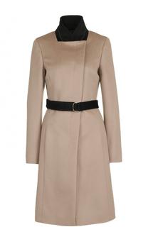 Шерстяное пальто с поясом BOSS