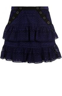 Хлопковая мини-юбка с кружевной отделкой self-portrait