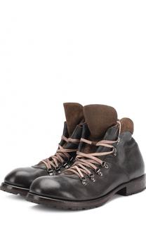 Высокие кожаные ботинки на шнуровке Moma