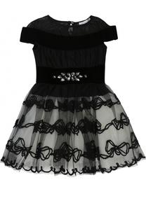 Мини-платье с многослойной юбкой и вышивкой с кристаллами Monnalisa
