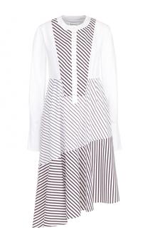 Хлопковое платье-рубашка ассиметричного кроя Carven
