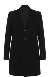 Шерстяное однобортное пальто с отложным воротником Rick Owens