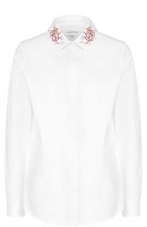 Хлопковая блуза прямого кроя с вышивкой Carven