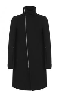 Шерстяное пальто на молнии с воротником-стойкой Rick Owens
