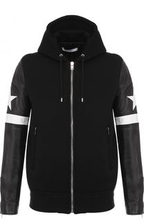 Куртка из вискозы на молнии с кожаными рукавами Givenchy