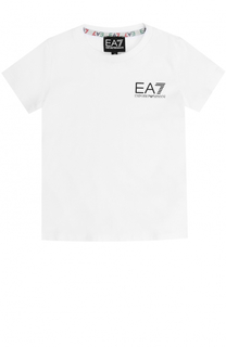 Хлопковая футболка с логотипом бренда Ea 7