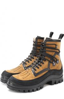 Высокие замшевые ботинки на шнуровке с внутренней меховой отделкой Dsquared2