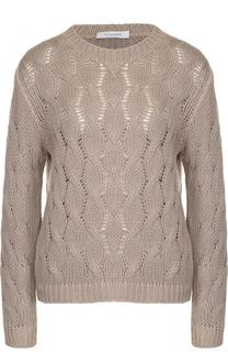 Кашемировый пуловер фактурной вязки с круглым вырезом Cruciani