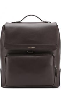Кожаный рюкзак Mediterraneo с клапаном и внешним карманом на молнии Dolce & Gabbana