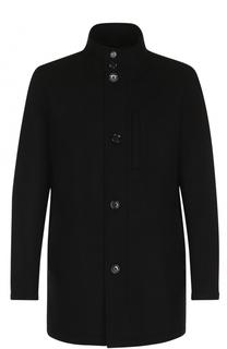 Шерстяное однобортное пальто с воротником-стойкой BOSS