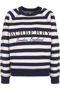 Шерстяной пуловер в полоску с круглым вырезом Burberry