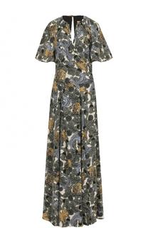 Шелковое платье-макси с принтом Burberry