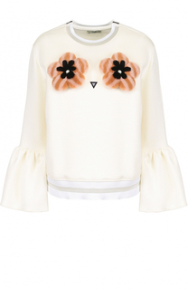 Хлопковый пуловер с отделкой из меха норки Fendi