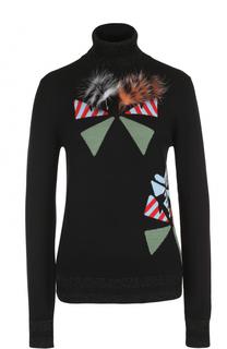 Шерстяной свитер с отделкой из меха лисы Fendi