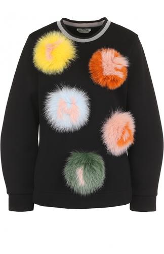Хлопковый пуловер с отделкой из меха лисы Fendi