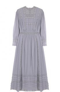 Шелковое платье-миди с укороченным рукавом Burberry