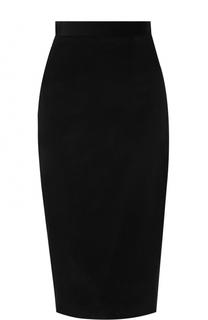Бархатная юбка-карандаш с контрастной вставкой Olympia Le-Tan