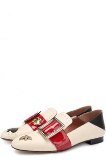 Кожаные лоферы с ремешком и аппликациями Bally