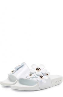 Резиновые шлепанцы с цветочными аппликациями Marc Jacobs
