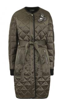 Стеганое пальто с круглым вырезом и поясом Markus Lupfer