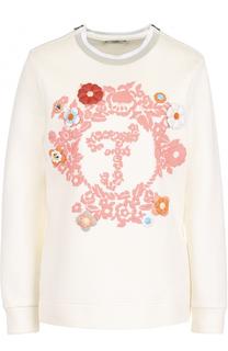 Хлопковый пуловер с контрастной отделкой Fendi