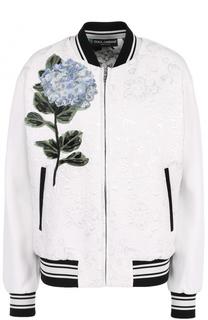 Бомбер на молнии с контрастной цветочной отделкой Dolce & Gabbana