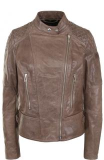 Приталенная кожаная куртка с косой молнией Belstaff
