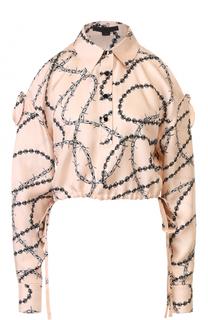 Укороченная шелковая блуза с открытыми плечами Alexander Wang