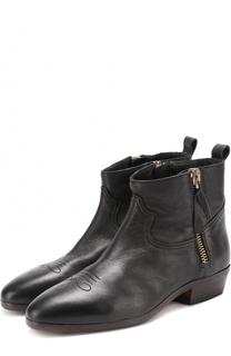 Кожаные ботинки с декоративной прострочкой Golden Goose