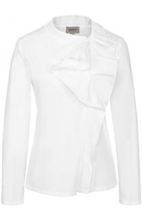 Приталенная хлопковая блуза с оборками Armani Collezioni