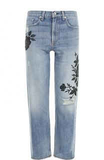 Укороченные джинсы с цветочной вышивкой и потертостями Rag&Bone Rag&Bone