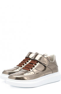 Кеды на шнуровке из металлизированной кожи Alexander McQueen