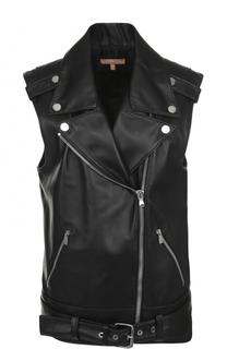 Кожаный жилет прямого кроя с косой молнией Michael Kors