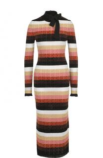 Приталенное платье-миди в полоску Fendi