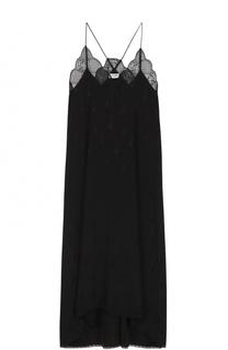 Шелковое платье-комбинация с кружевной отделкой Zadig&Voltaire Zadig&Voltaire