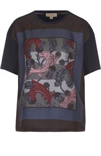Хлопковая футболка прямого кроя с принтом Burberry