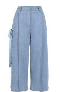 Укороченные джинсы с защипами и лентами Fendi