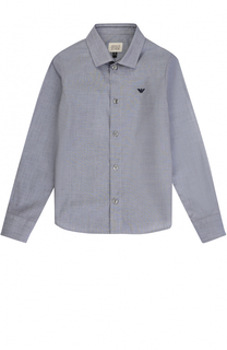 Хлопковая рубашка прямого кроя Giorgio Armani