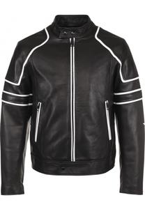 Кожаная куртка на молнии с контрастной отделкой Just Cavalli