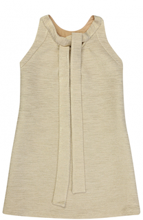 Шерстяное мини-платье А-силуэта с металлизированной отделкой Oscar de la Renta