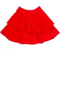 Двухъярусная мини-юбка из шерсти Oscar de la Renta